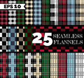Flannel seamless patterns. 25 seamless textures: flannel lumberjack shirt patterns set. Different color: red, green, blue, beige, black and white, squared Royalty Free Stock Images