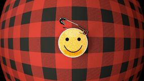 Smiley, cloth badge on the flannel shirt, close up vector illustration