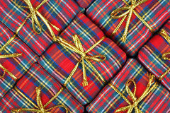 Flannel wrapped boxes Stock Photography