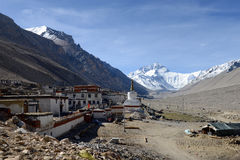 Free Flannelette(Rongbu) Temple And Mount Everest Royalty Free Stock Image - 46469546