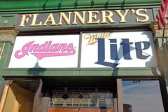Flannery`s in the downtown Cleveland Ohio Gateway District known for its St. Patricks Day festivities. Ground zero for the annual St. Patrick`s Day city-wide royalty free stock photography