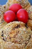 Flaounes from Cyprus. Flaounes and red eggs during Easter in Cyprus Royalty Free Stock Photos