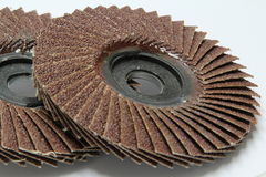 Flap abrasive disc. Closeup of red color flap abrasive disc Royalty Free Stock Images