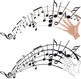 A flap of his hand. Music notes coming out of a wave of the hand Royalty Free Illustration