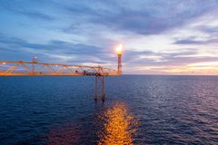 Flape bridge of offshore construction platform for exororation a Stock Photos