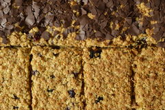 Flapjack. Black and white Flapjack - delicious bar with oatmeal, dried cranberry and dark chocolate Stock Photo