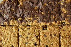 Flapjack. Black and white Flapjack - delicious bar with oatmeal, dried cranberry and dark chocolate Stock Image