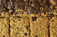 Flapjack. Black and white Flapjack - delicious bar with oatmeal, dried cranberry and dark chocolate Stock Images