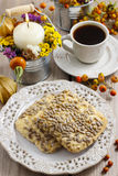 Flapjack cookies in autumn setting Royalty Free Stock Photos