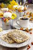 Flapjack cookies in autumn setting Royalty Free Stock Photography