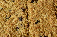 Flapjack. Delicious bar with oatmeal, honey and dried cranberry Stock Photos