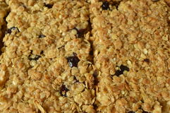 Flapjack. Delicious bar with oatmeal, honey and dried cranberry Stock Image