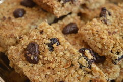 Flapjack. Delicious bar with oatmeal, honey and dried fruit Stock Photography