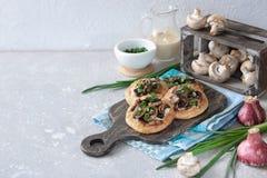Flapjack with mushrooms and creamy garlic sauce. Flapjack with champignons and creamy bechamel sauce stock image