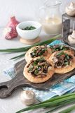 Flapjack with mushrooms and creamy garlic sauce. Flapjack with champignons and creamy bechamel sauce stock images