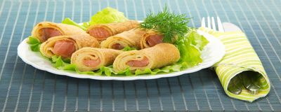 Flapjack with salmon and salad Royalty Free Stock Images