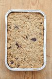 Flapjack in a silver baking tray Stock Photos