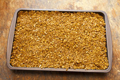 Flapjack Tray. Cooked flapjack mixture in a tray Royalty Free Stock Photo
