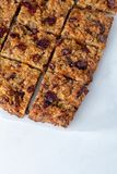 Flapjack vegan with cranberry, apricot and date. Organic vegan flapjack made with dates, cranberries and apricots with no animal products for super healthy diet stock images