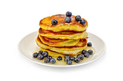 Flapjacks with blueberries and honey Stock Images