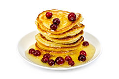Flapjacks with cranberry and honey Royalty Free Stock Photo