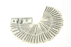 Flapper de notas de dólar do americano cem do dinheiro Imagens de Stock