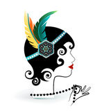 Flapper with feathers in headband. Holding pearls Stock Photography