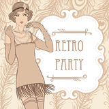 Flapper girl. Retro party invitation design stock illustration