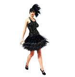 Flapper Girl in a black dress. A flapper girl poses in a black feather dress Royalty Free Stock Photos