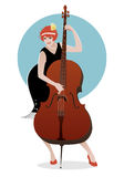 Flapper girl dressed in 1920s clothes, playing double bass Stock Photos