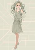 Flapper girl: Retro party invitation design Stock Image
