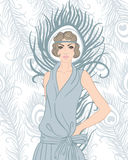 Flapper girl: Retro party invitation design. Art Royalty Free Stock Photography