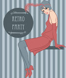 Flapper girl: Retro party invitation design Stock Photography