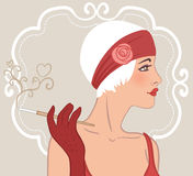 Flapper girl: Retro party invitation design. Vector illustration Royalty Free Illustration
