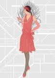Flapper girl: Retro party invitation design Royalty Free Stock Photo