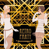 Flapper girl: Retro party invitation design. Royalty Free Stock Photos