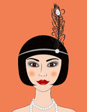 Flapper girl Retro 20s-30s style portrait. Vector illustration Royalty Free Stock Photography