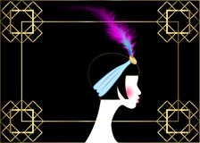 Flapper girl, retro woman of twenties. Retro party invitation design with a beautiful portrait 1920s style, fashion silhouette. With feather, vector isolated or royalty free illustration