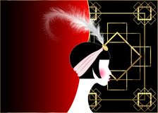 Flapper girl, retro woman of twenties. Retro party invitation design with a beautiful portrait 1920s style, fashion silhouette. With red feather, vector royalty free illustration