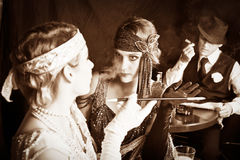 Flapper girls and gangster Stock Photos