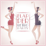 Flapper Girls Retro Party. Flapper Girls: Two beautiful girls dressed in 1920s clothes royalty free illustration