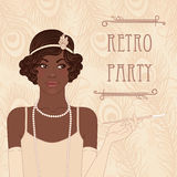 Flapper girls set african americam woman. Flapper girls set: retro party invitation design in 20s style (african americam woman Stock Image