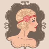 Flapper girls set: retro party invitation design in 20's style royalty free illustration