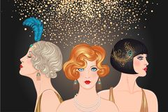 Flapper girls set: three young beautiful women of 1920s. Vector. For glamour event, thematic wedding or jazz party royalty free illustration