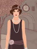 Flapper girls set: vintage woman in 1920s style. Flapper girls set: vintage woman in1920s style dresses standing on the street of old town Royalty Free Stock Photos