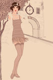 Flapper girls set: vintage woman in1920s style stock illustration