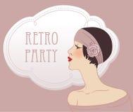 Flapper retro brunette girl. Flapper girls set: retro party invitation design in 20s style Stock Photos
