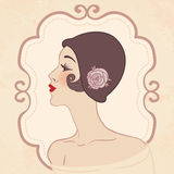 Flapper retro girl in hat. Flapper girls set: retro party invitation design in 20s style vector illustration