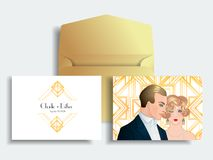Flapper 20's style. Vintage party or thematic wedding invitation. Design template. Beautiful couple in art deco style. Retro fashion: glamour man and woman of Stock Illustration