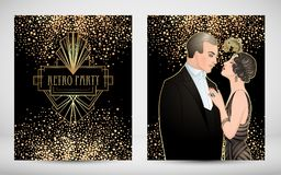 Flapper 20's style. Vintage party or thematic wedding invitation. Design template. Beautiful couple in art deco style. Retro fashion: glamour man and woman of Vector Illustration
